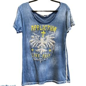 Affliction t-shirt women's graphic scoop neck SZ L